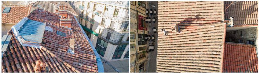 Constat d'huissier avec un drone sur toitures